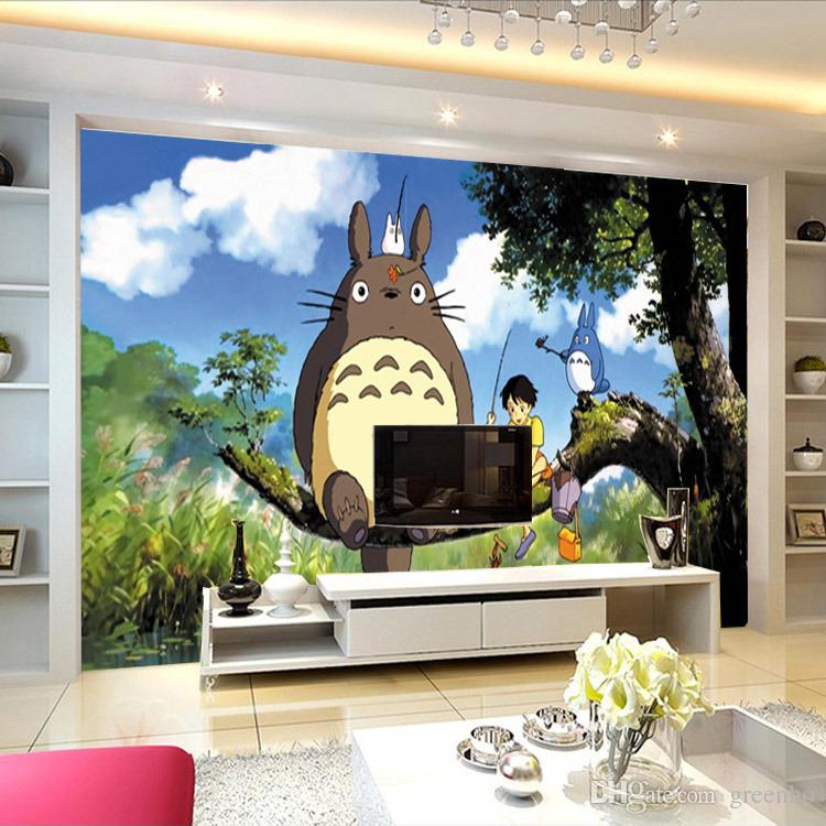 3d Wallpaper For Kid Bedroom Cute Japanese Anime Totoro Wall Mural Silk Wallpaper