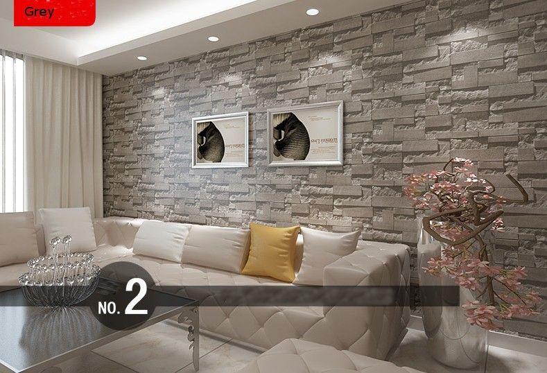 3d Grey Brick Wallpaper Modern Stacked Brick 3d Stone Wallpaper Roll Grey Brick