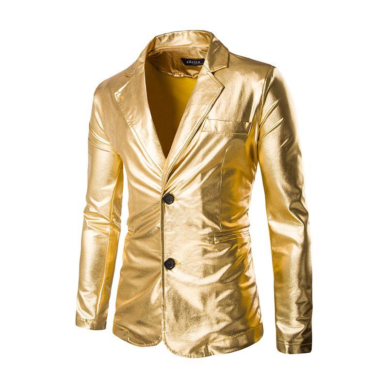 2019 Gold Blazer Men 2017 Stage Costumes Men Gold Silver Suit Jacket