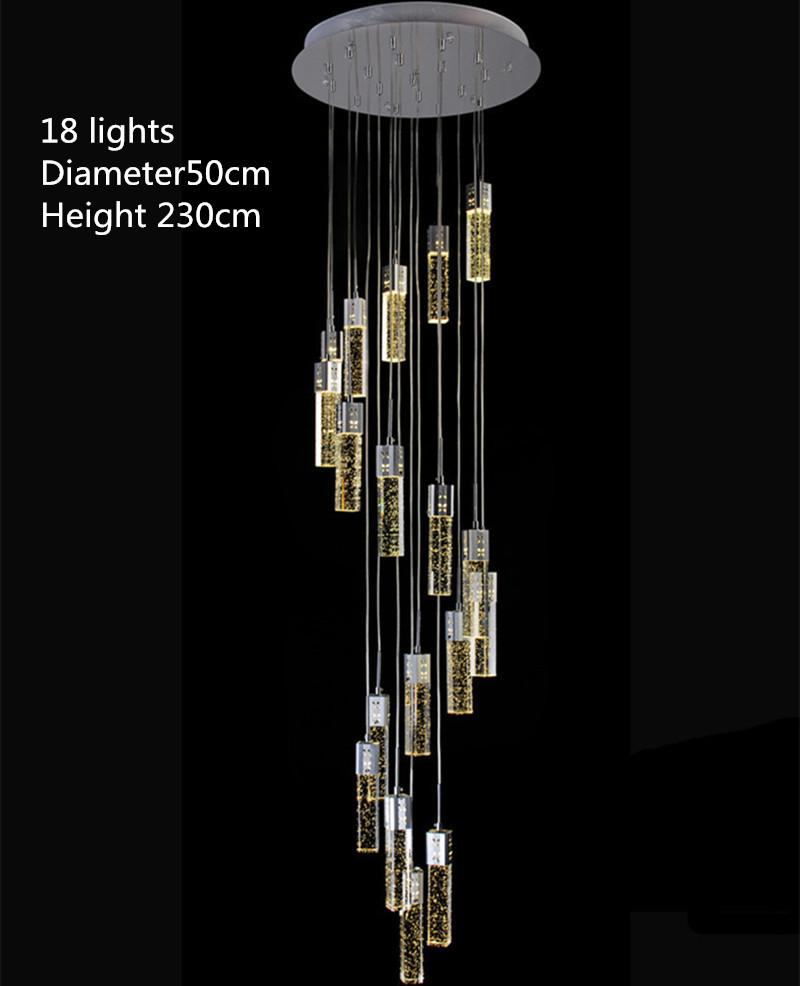 Lighting Online 1 4 3 5m Modern Led Stairwell Chandeliers Crystal Stair Lighting Luminaria Hall Parlor Foyer Led Strip Pendant Lights Long Stairway Lamps