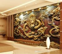 Custom 3D Wallpaper Wood Carving Dragon Photo Wallpaper ...