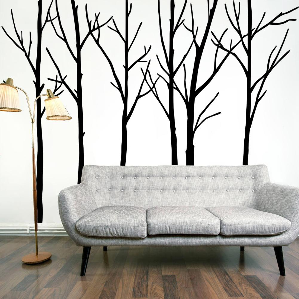 Art Décoration Chambre Extra Large Black Tree Branches Mur Art Décor Mural Sticker Transfert Salon Chambre Fond Wall Decal Affiche Graphique 288 X 200 Cm