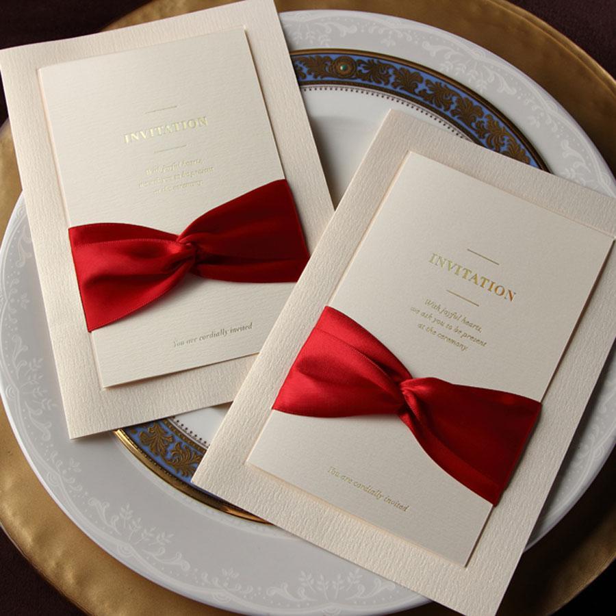 Diy Wedding Invitations Ribbon Fashion Wedding Invitations Cards With Bow Personalized Invitations Free Shipping