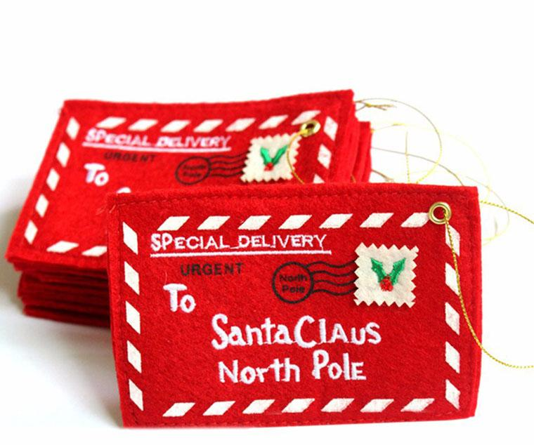 2019 Letter To Santa Claus Red Felt Envelope Mail Embroidery Card