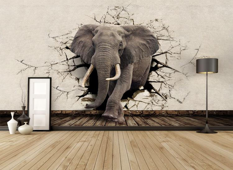 3d Wallpaper For Interior Decoration Custom 3d Elephant Wall Mural Personalized Giant Photo