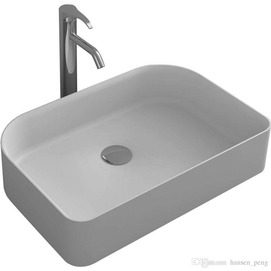 Sinks Online Round Bathroom Solid Surface Stone Wash Basin Above Counter Matt White Or Glossy Laundry Vessel Sink Rs38176