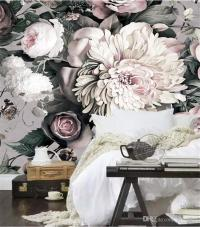 3d Vintage Photo Wallpaper Hand Painted Flowers Wallpaper ...