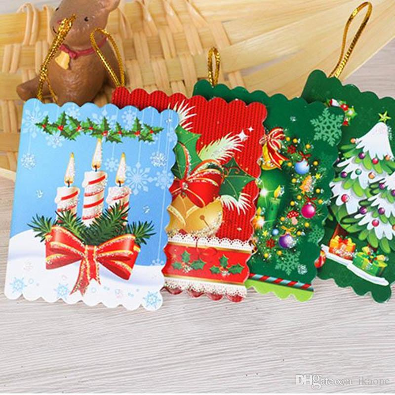 Christmas Cards Printed Xmas Ornaments Wishing Card 7x55cm Sweet