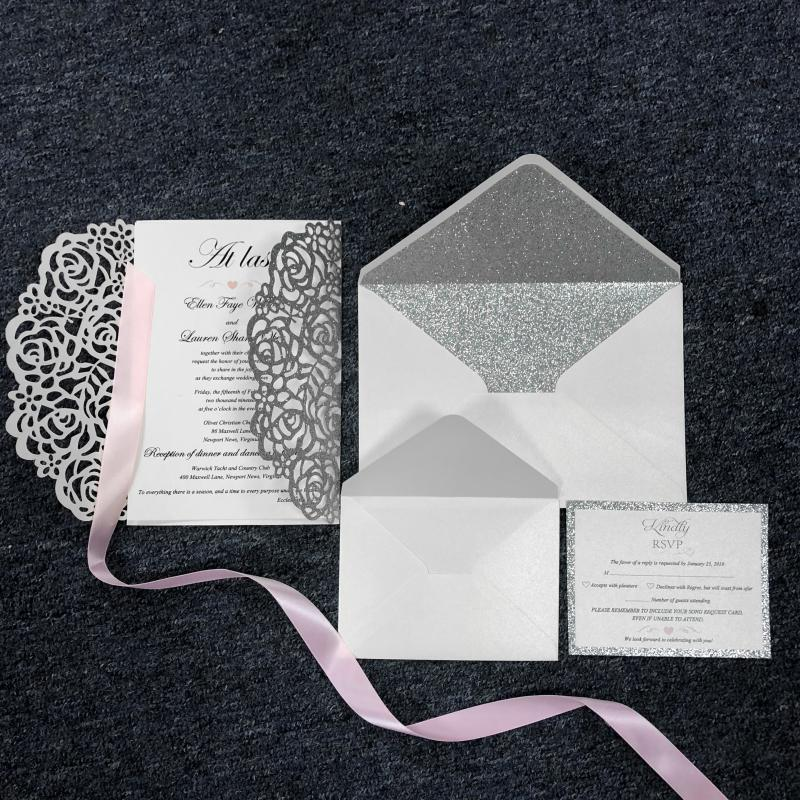 Luxury Suit Silver Glitter Invitations Cards With Ribbons,Envelopes