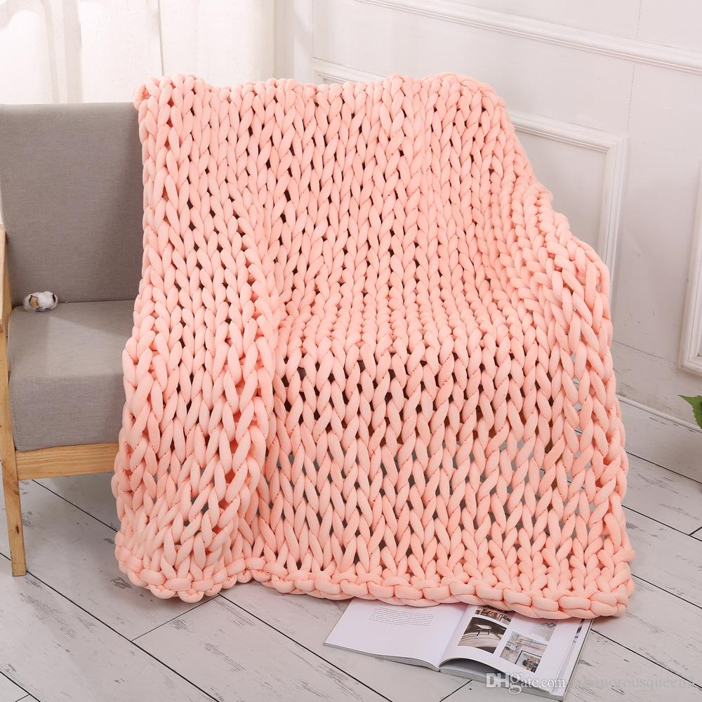 Sofa Throws Knitted Hot Handmade Chunky Knitted Blanket Thick Yarn Merino Wool Bulky Knitted Blanket Warm Winter Sofa Bed Home Decor Throws Blankets