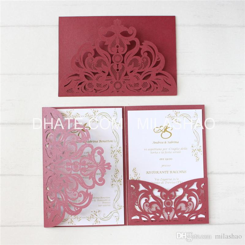Cards Invitation Customized Pocket Tri Folding Wedding Business