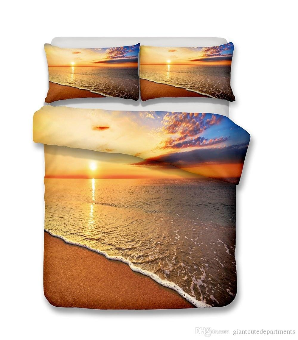 Bettwäsche Strand Beautiful Beach Scenery Series Der Strand Und Das Meer Welle Am Sunset 3d Bettwäsche Set Druck Bettbezug Set Lebensechte Bettlaken