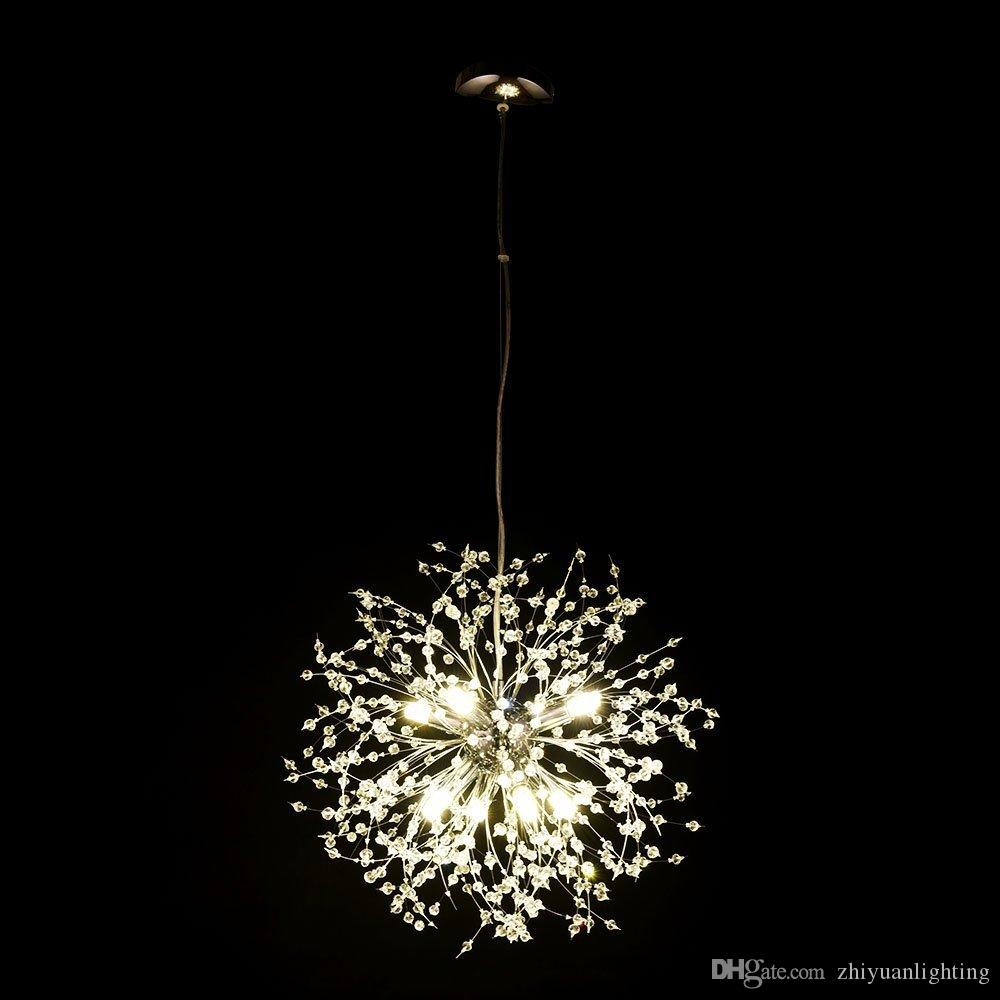 Modern Chandeliers Australia Contemporary Modern Firework Crystal Chandeliers Lighting Dandelion Pendant For Bedroom Kitchen Dining Room Indoor Lighting Fixture