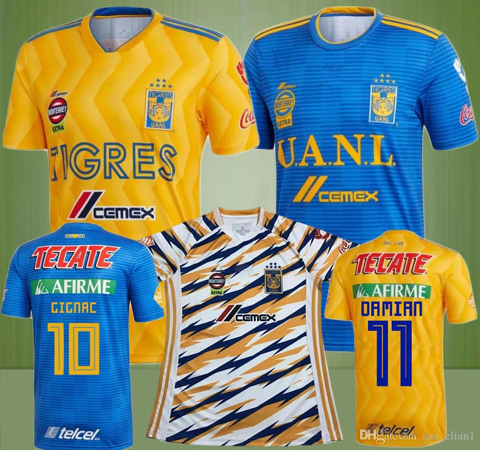 Tigres 2018 2019 Tigres Uanl Soccer Jerseys 18 19 Mexico Club Home Yellow 6 Stars Gignac Vargas H Ayala Sosa Away Third Uniform Football Shirts