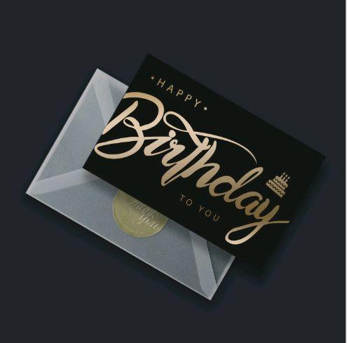 Black Gilding Business Invitation Card Baking Birthday Wishes Thank