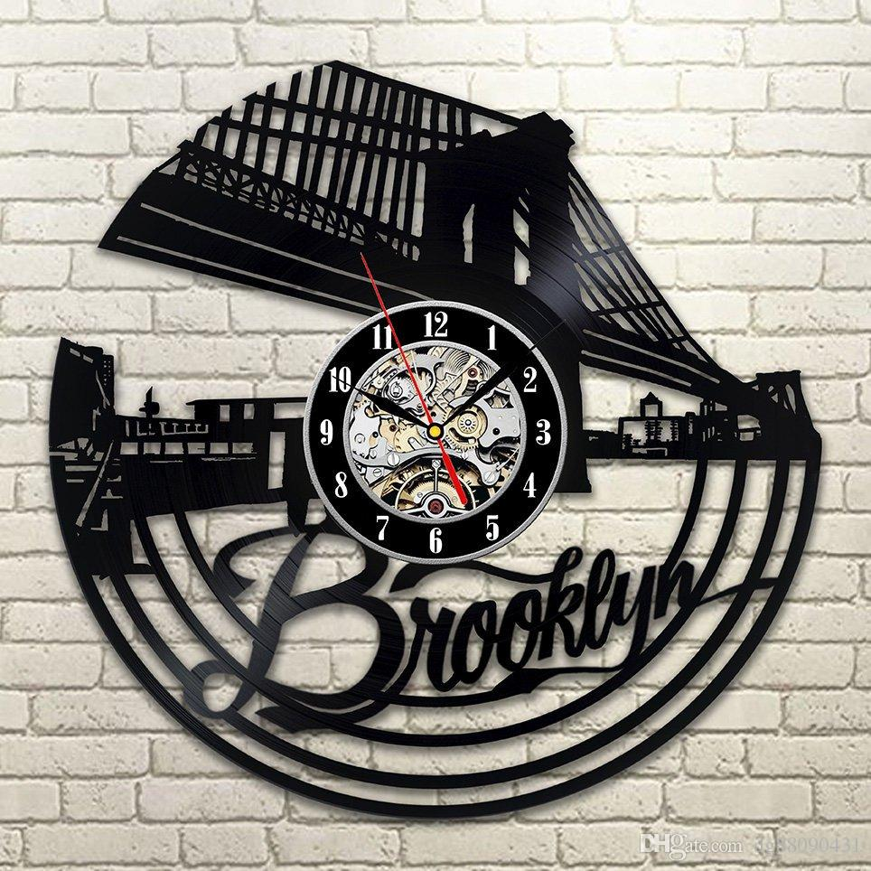 Special Clock Brooklyn Vinyl Wall Clock Brooklyn Decor Wall Clock Special Gift For Friends Great Design Creative Vintage Welldone Product Black Color