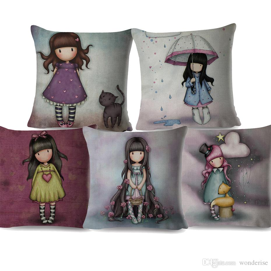 Little Couch For Bedroom 12 Styles Oil Painting Children Cushion Covers Cartoon Cute Little Girl Decorative Cushion Cover Bedroom Sofa Linen Pillow Case
