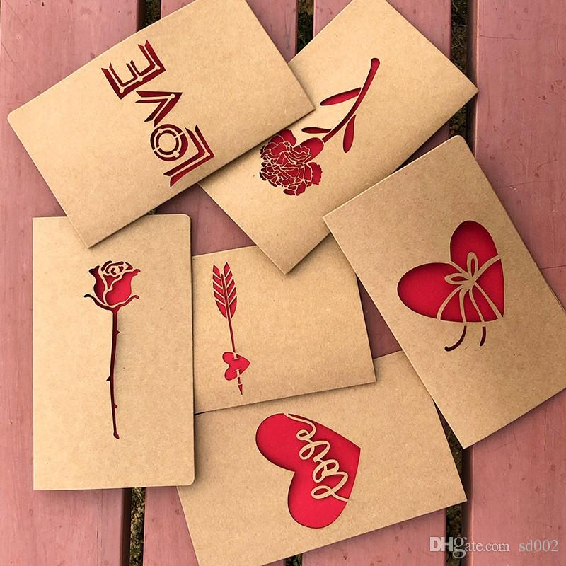 Creative Hollowed Out Design Greeting Card Brown Kraft Paper