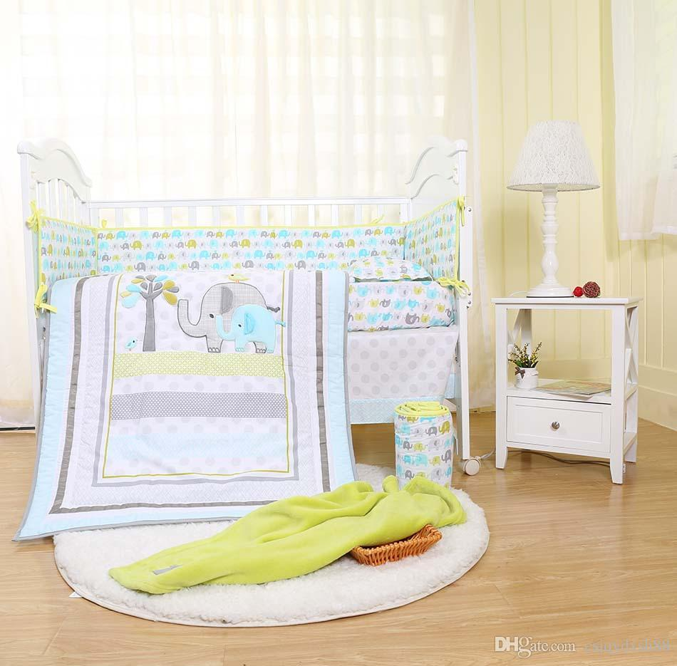Full Crib Bedding Sets Fashion Baby Bedding Set 7pcs Crib Bedding Set For Newborn Cot Bedding Set Embroidery 3d Elephant Bird Quilt Bed Skirt Quilt Bumper