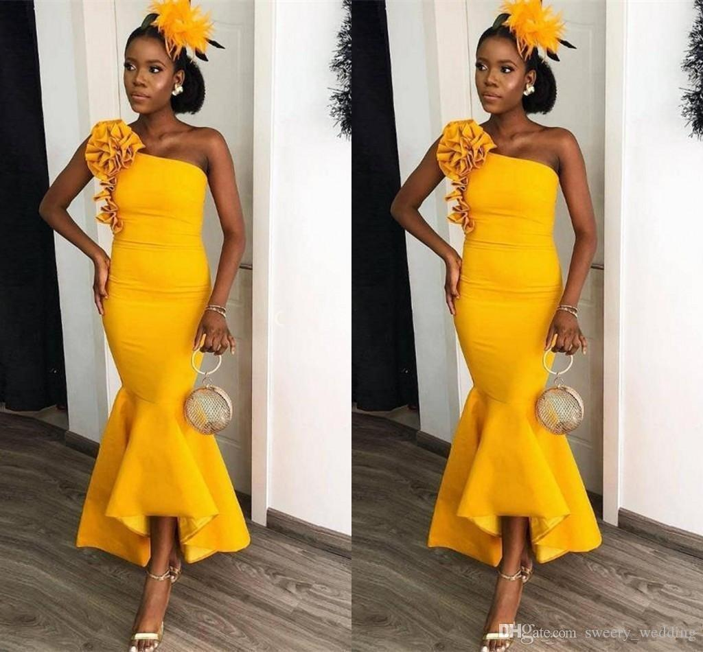 Party Chic Chic Yellow African Mermaid 2019 Prom Cocktail Party Dresses One Shoulder Bodycorn Formal Occasion Gowns Ankle Length Cheap Pleats Abiye