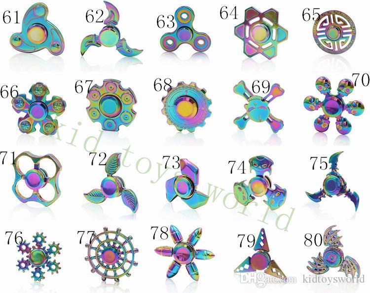 In Stock Fidget Spinner Rainbow Hand Spinners Tri Fidget Metal EDC