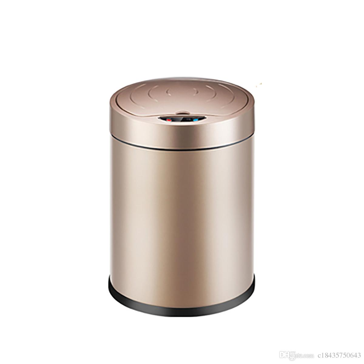 Copper Trash Can With Lid 12l Automatic Trash Can Touchless Intelligent Induction Garbage Bin With Inner Bucket Contactless Circulator Quiet Lid Close Can Silver