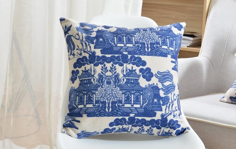 The Blue And White Porcelain Pattern Cushion Covers