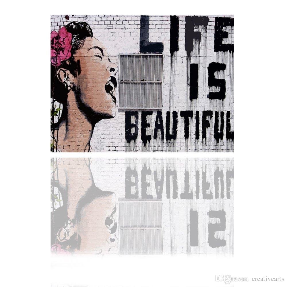 Banksy Canvas Art Life Is Beautiful Banksy Art Original Print On Canvas Graffiti Banksy Wall Art Banksy Canvas Prints Canvas Art Picture
