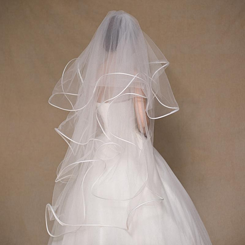Dw In Stock Wedding Veils 1 M 4 Layers Ruffles Ribbon Edge Elegant