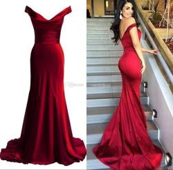 Christmas 2017 Cheap Red Mermaid Prom Dresses V Neck Off Shoulder Elastic Satincustom Made Backless Evening Gowns Sexy Long Dresses Sweep Train Short 2017 Cheap Red Mermaid Prom Dresses V Neck Off Sho