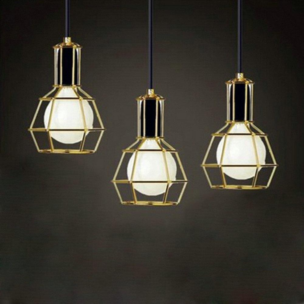 Small Simple Chandelier American Vintage Edison Pendant Lamps Chrome Bulb Holder Dining Room Mahjong Creative Lighting Small Lift Cages Bulb Holders