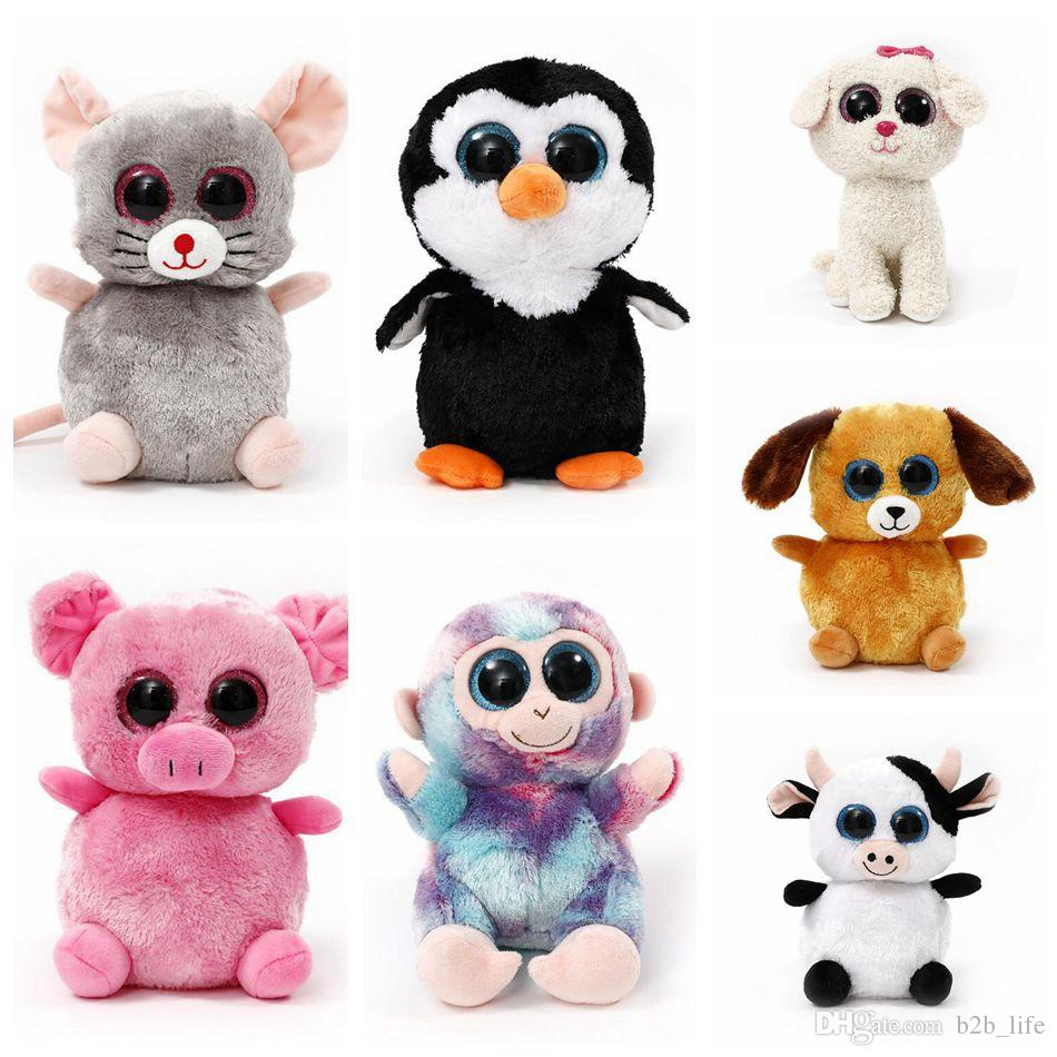 Cat Plush Toy Ty Plush Dolls 22cm Ty Beanie Boos Cat Dog Rabbit Animal Big Eye Stuffed Plush Toys Pre Sell 120pcs Ljjo3676