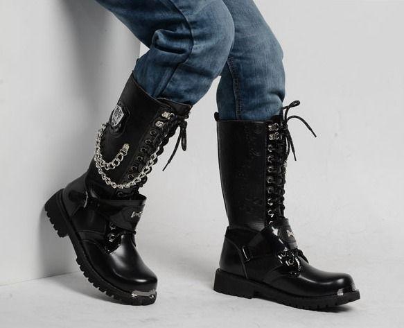Fashion Men Black Chain Boots Lace Up Mid Calf Male Martin