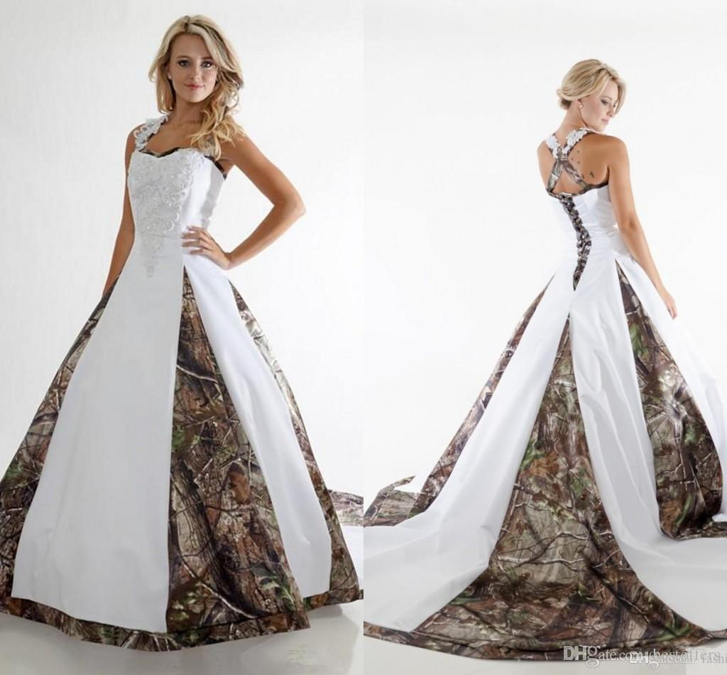 Terrific Discount 2016 New Fashion Cheap Camo Wedding Dresses One Shoulder Sweeptrain Satin A Line Bridal Dress Chapel Train Custom Made Discount Weddingdress Discount 2016 New Fashion Cheap Camo Wedd wedding dress Camo Wedding Dress