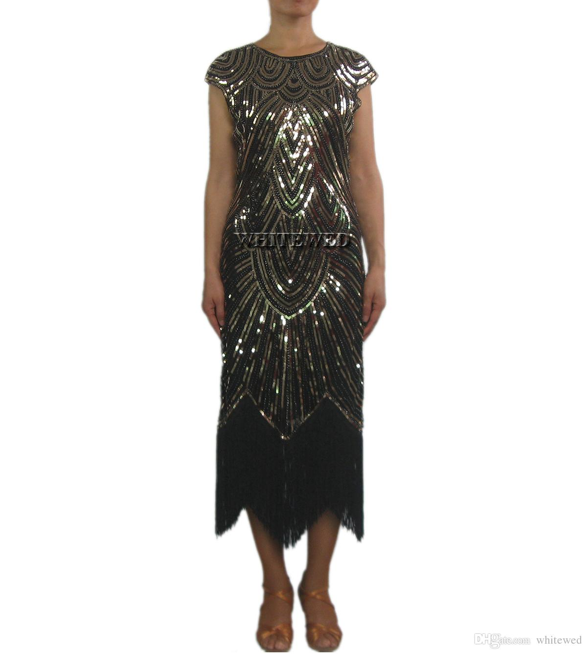 Art Deco Stil Retro Perlen 1920 Art Deco Cocktail Flapper Kleider Kostüm Lange Jazz Ära Flappers Great Gatsby Kostüm Kleid Stil In 1920 Frauen