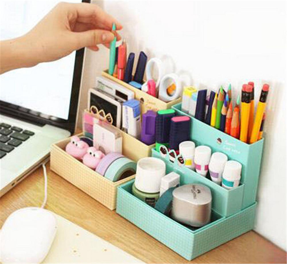 Stationary Boxes Diy Paper Board Storage Box Desk Decor Stationery Makeup Cosmetic Organizer