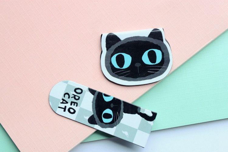 2019 /Pack Cute Black Cat Magnet Bookmark Paper Clip School Office