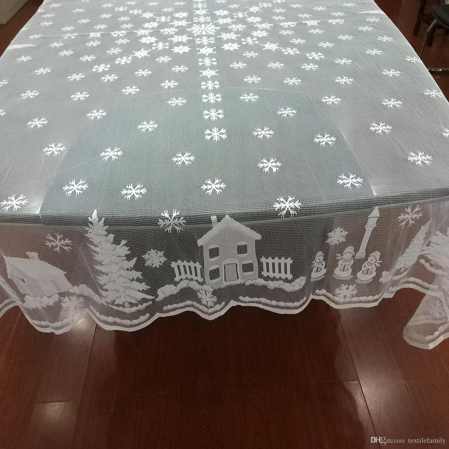 Christmas Tablecloths Australia White Christmas Lace Snowflake Tablecloths Round Xmas Tree Lace Snowflower Table Cover Snowman Diver Snow Deer Home Decor Table Cover