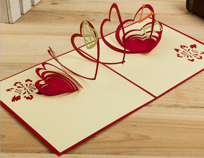 Hollow Love Handmade Kirigami Origami 3d Pop Up Greeting Cards For - cards party