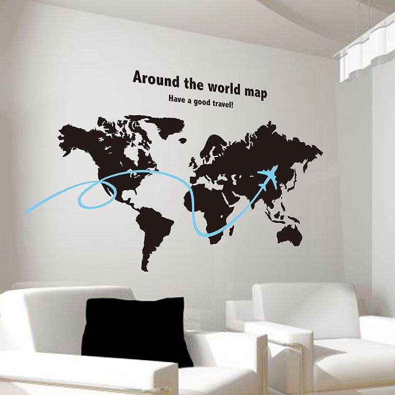 SHIJUEHEZI Custom World Map Wall Sticker Airplane Vinyl DIY Handmade