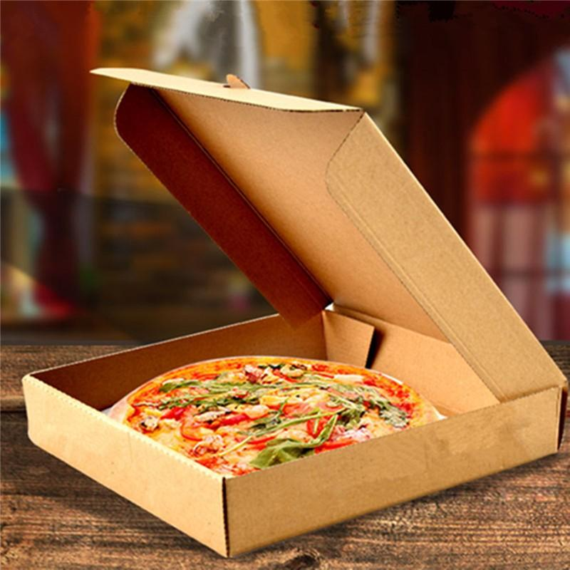 Pizza Boxes Folding Food Packing Takeaway Pancake Cowhide Kraft