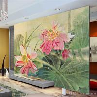 Vintage Lotus Painting Photo Wallpaper 3d Flower Wall ...
