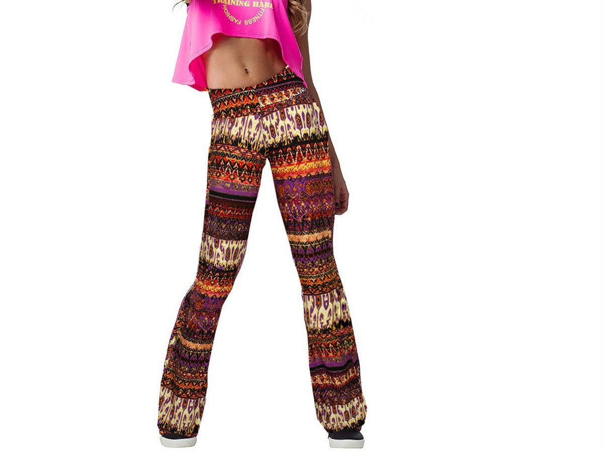 2019 New Arrival Women Long Flare Pants Floral Print