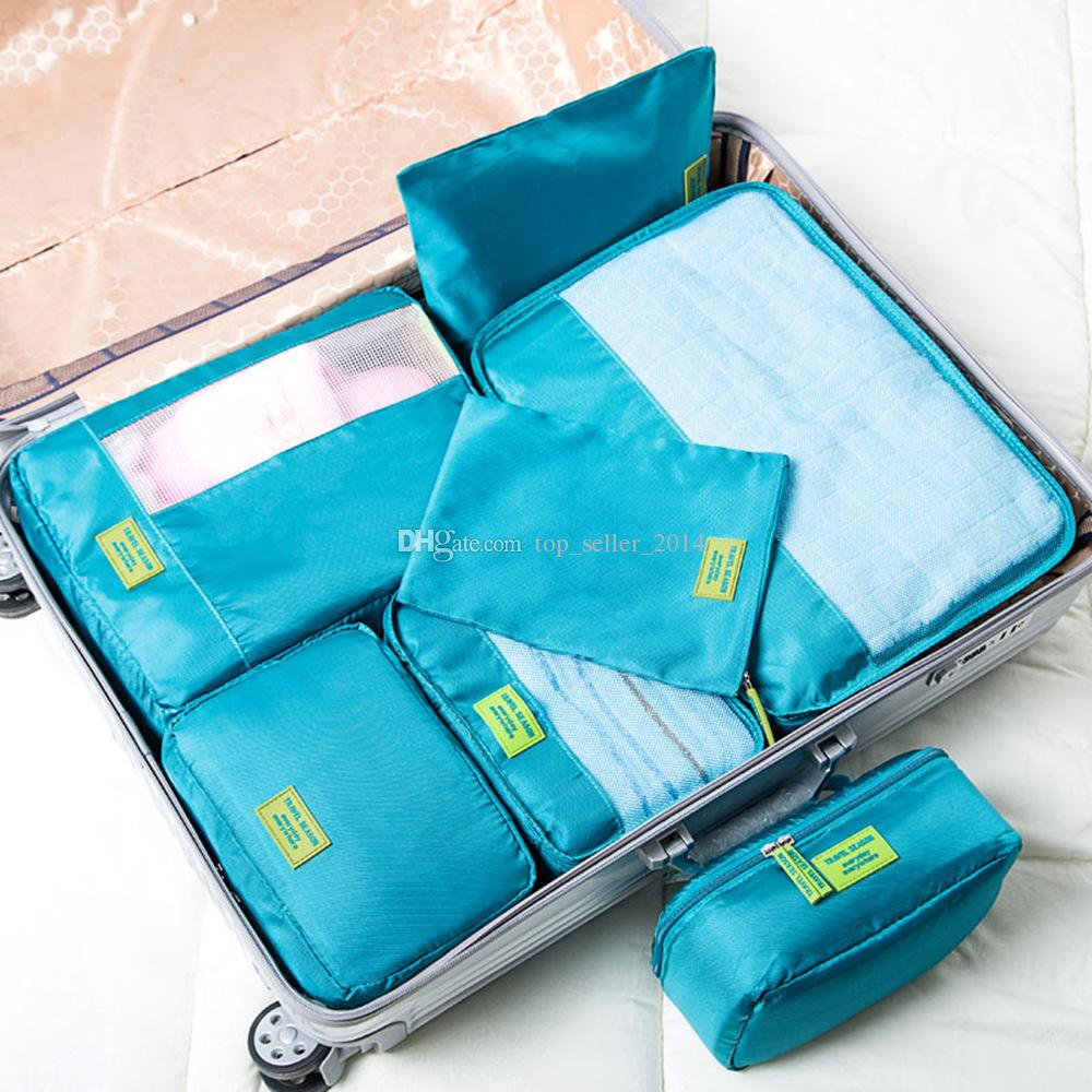 Zipper Beutel Set 7 Travel Organizer Bags 5 Packing Cubes 2 Pouches Suitcase Compression For Carry On Luggage Laundry Storage Accessories Blue