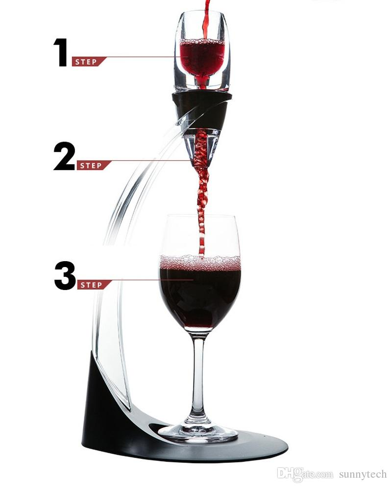 Decanter Wine Glas Eco Friendly Deluxe Wine Aerator Tower Set Red Wine Glass Accessories Quick Magic Decanter With Gift Box Crystal Acrylics Wholesale Za1009