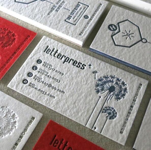 China Supplier Cheap 600gsm Cotton Paper Debossed Letterpress - letterpress business card