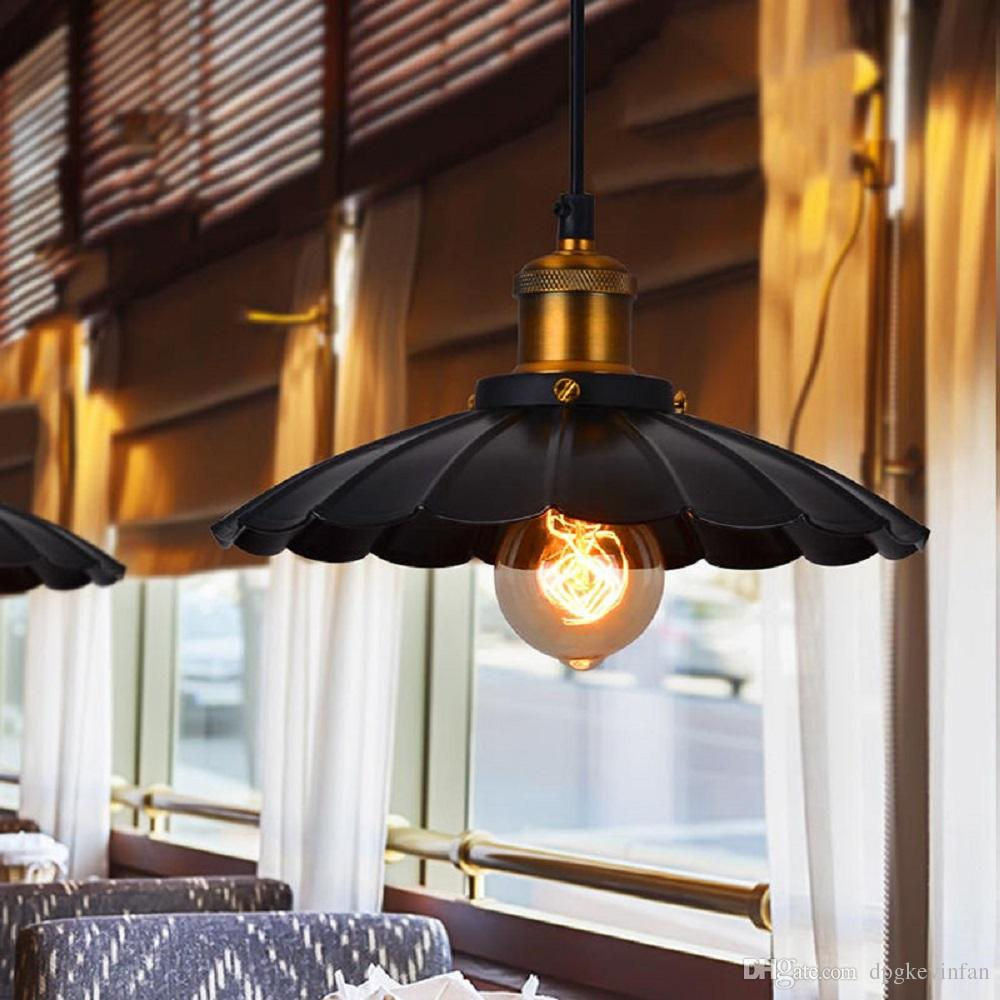 Plafond Western Union Pendant Lights Lighting Lamps Chandeliers Vintage American Industrial E27 Lamp Black And White Bedroom Lamps With Variety Widths