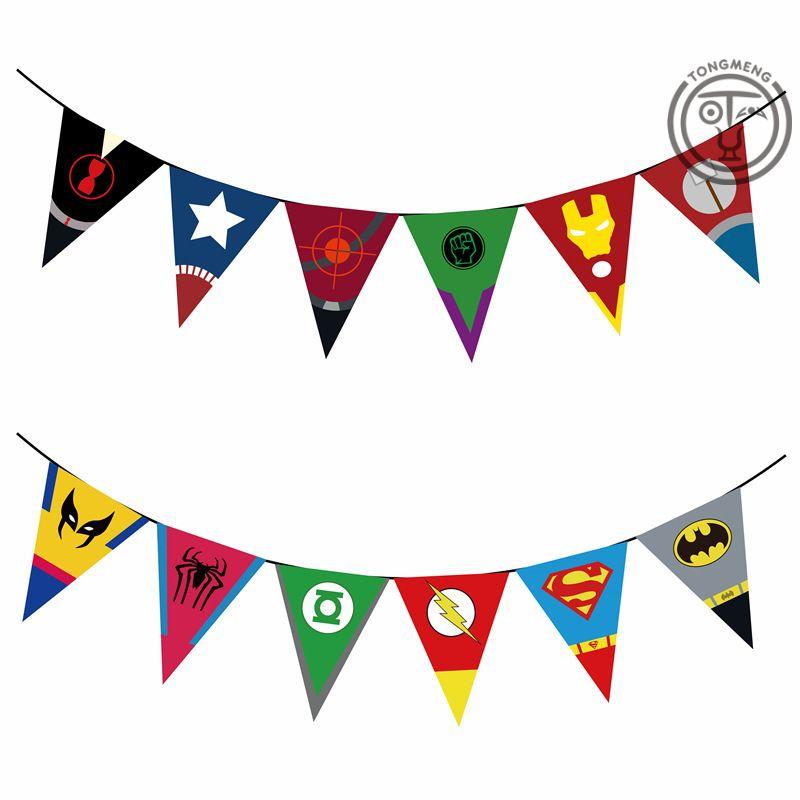 Kids Party Banners Trolls Avengers Flash Ironman Super Hero Smiles