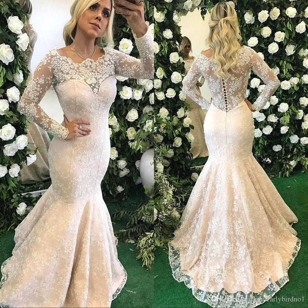 Floor Covered Button Back Mermaidwedding New Glamorous Lace Appliqued Mermaid Wedding Dresses 2018 Long New Glamorous Lace Appliqued Mermaid Wedding Dresses 2018 Long Sleevesautumn Winter Wedding Brid wedding dress Winter Wedding Dresses