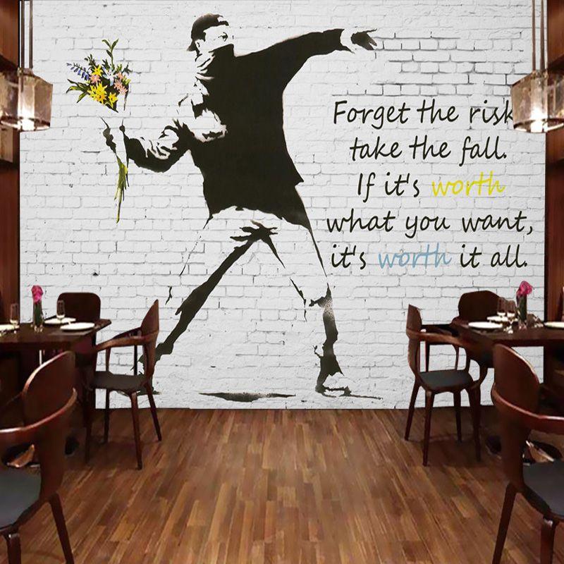 3d Brick Wallpaper For Walls Graffiti Artist Banksy Wall Murals Custom 3d Photo